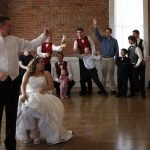 wedding couple garter toss